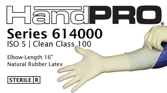 "HandPRO Series 614000 Sterile Clean Class 100 Latex 16"" Gloves"