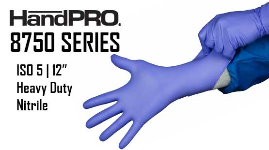"HandPRO 8750 Series Heavy Duty 12"" Clean Class 100 Nitrile Gloves"