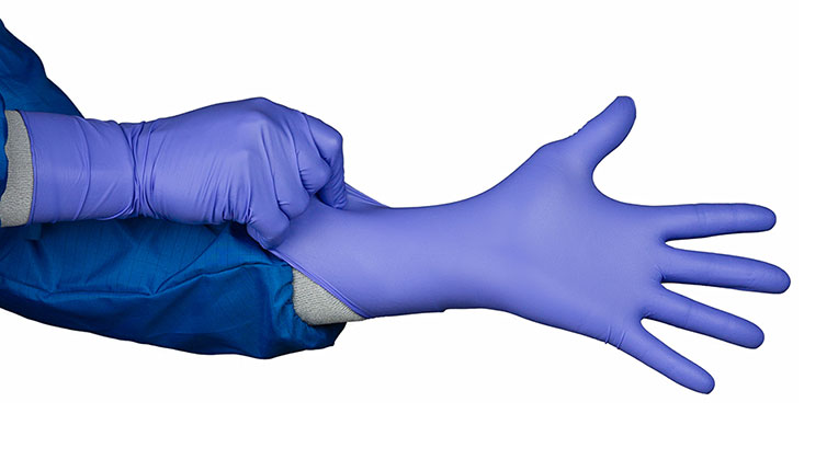 HandPRO 8750 Heavy Duty Blue Cleanroom Gloves ISO 5